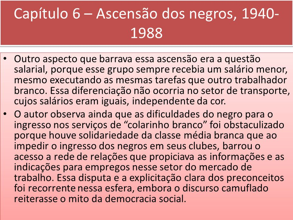 Capítulo 6 – Ascensão dos negros, 1940-1988