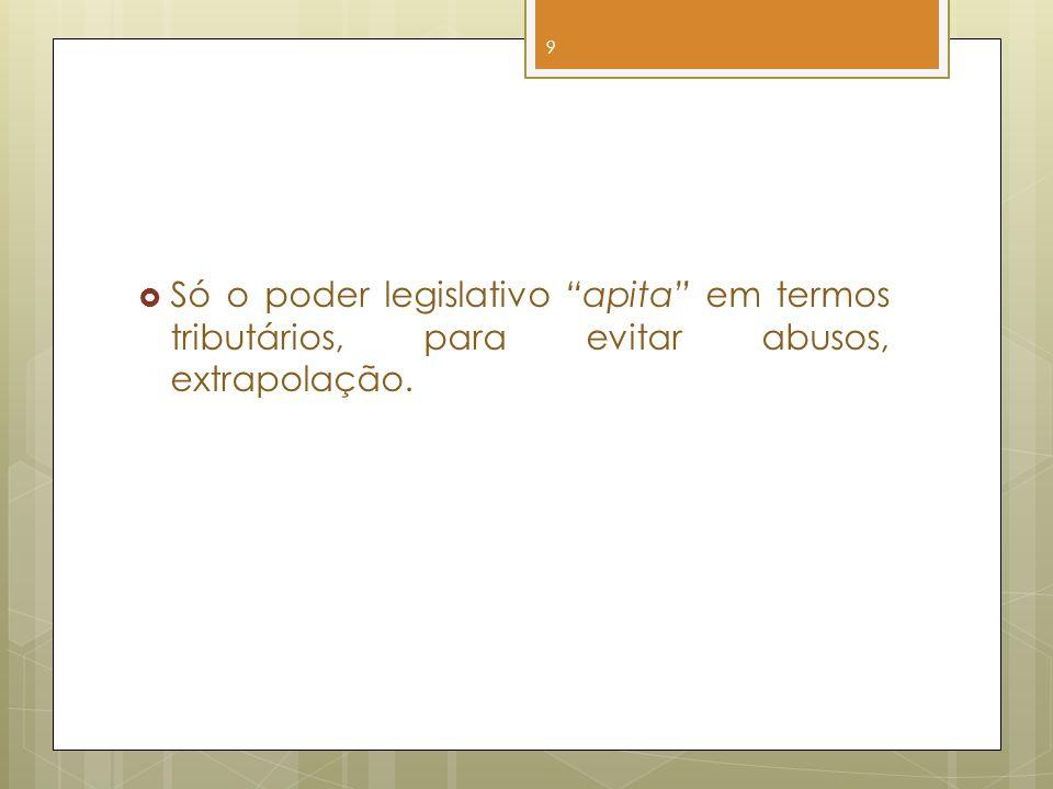 Só o poder legislativo apita em termos tributários, para evitar abusos, extrapolação.