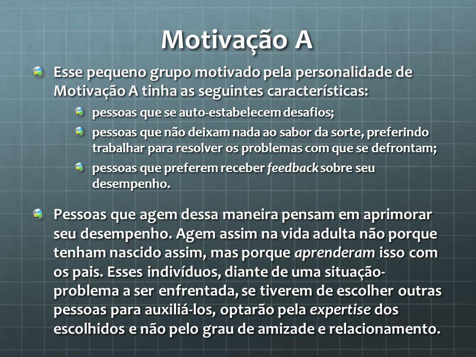 Motivação A Esse pequeno grupo motivado pela personalidade de Motivação A tinha as seguintes características: