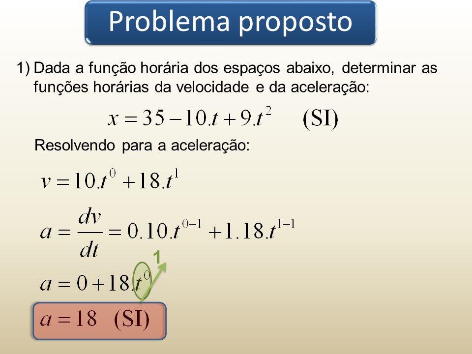 Problema proposto Dada a função horária dos espaços abaixo, determinar as funções horárias da velocidade e da aceleração: