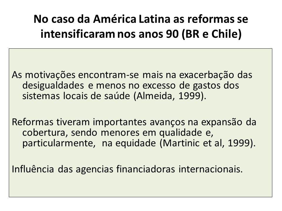 No caso da América Latina as reformas se intensificaram nos anos 90 (BR e Chile)
