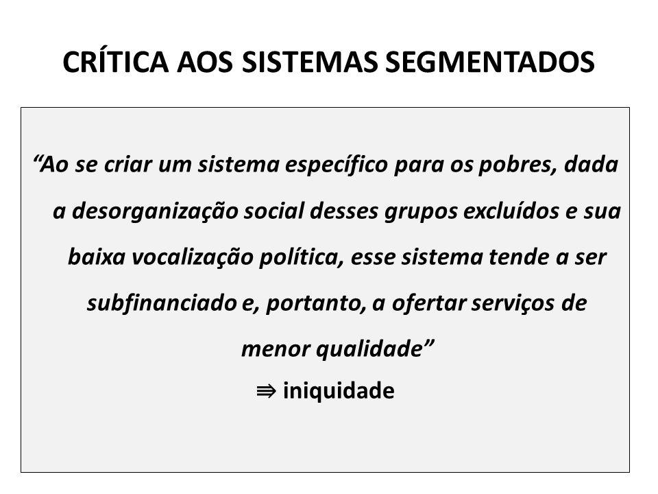CRÍTICA AOS SISTEMAS SEGMENTADOS