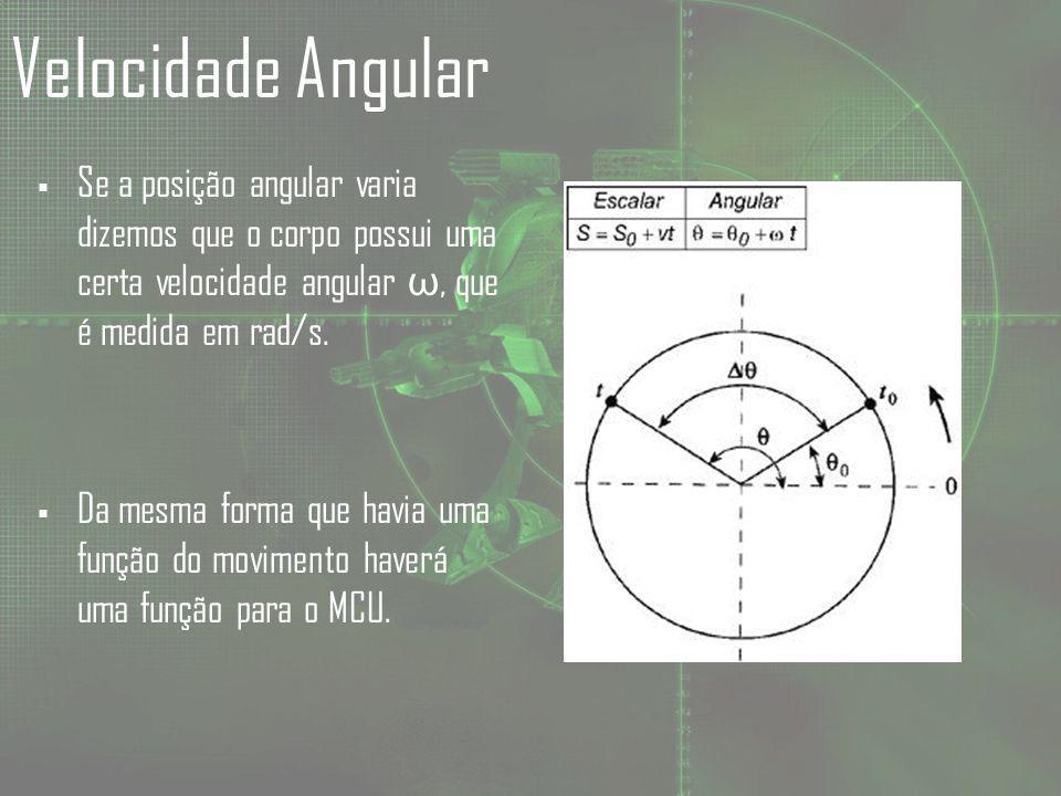 Velocidade Angular Se a posição angular varia dizemos que o corpo possui uma certa velocidade angular ω, que é medida em rad/s.