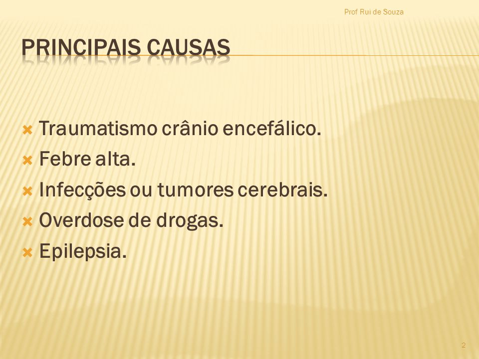 PRINCIPAIS CAUSAS Traumatismo crânio encefálico. Febre alta.