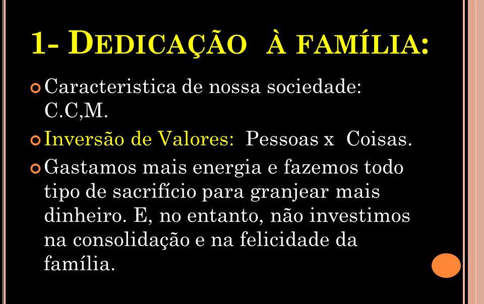 1- Dedicação à família: Caracteristica de nossa sociedade: C.C,M.