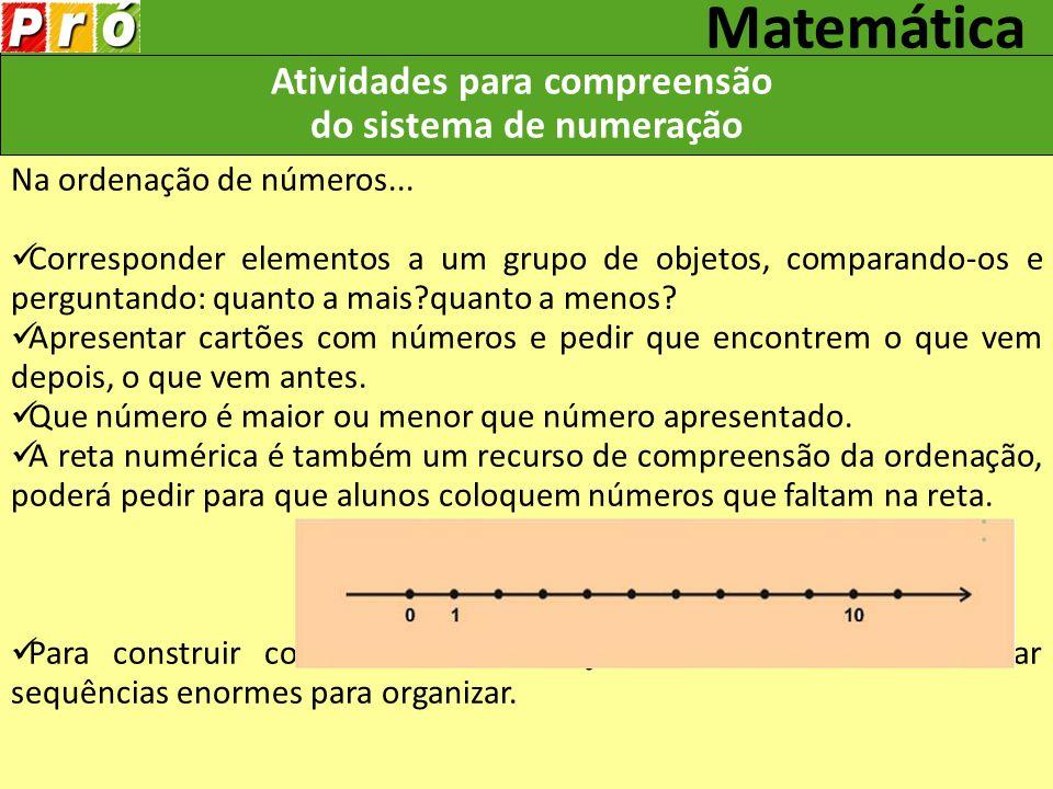 Atividades para compreensão do sistema de numeração