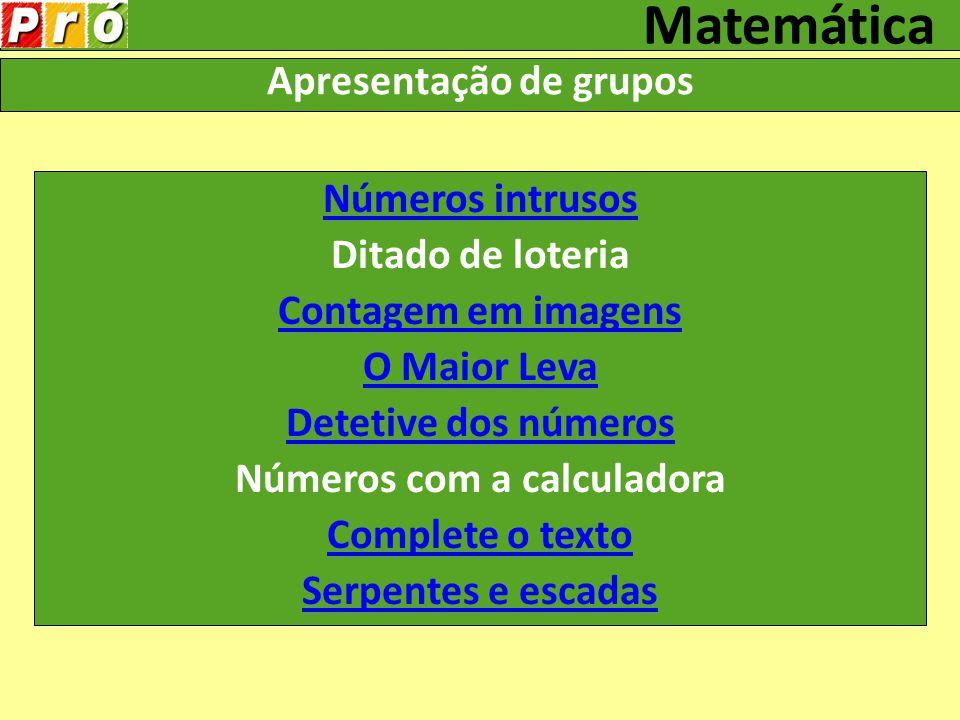 Apresentação de grupos Números com a calculadora