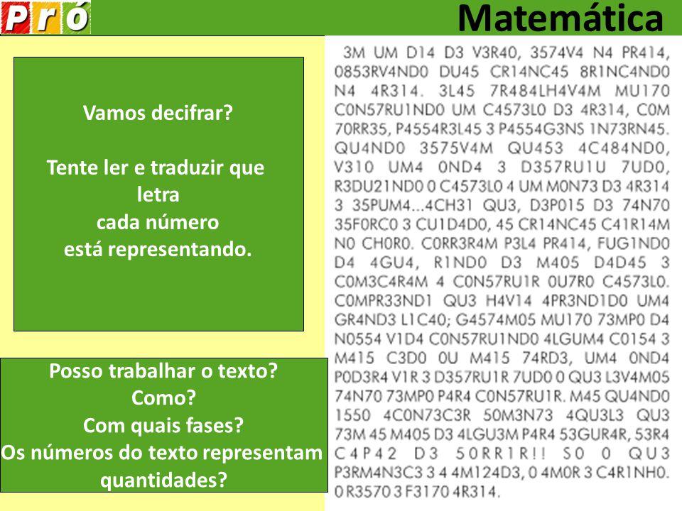 Tente ler e traduzir que letra cada número está representando.