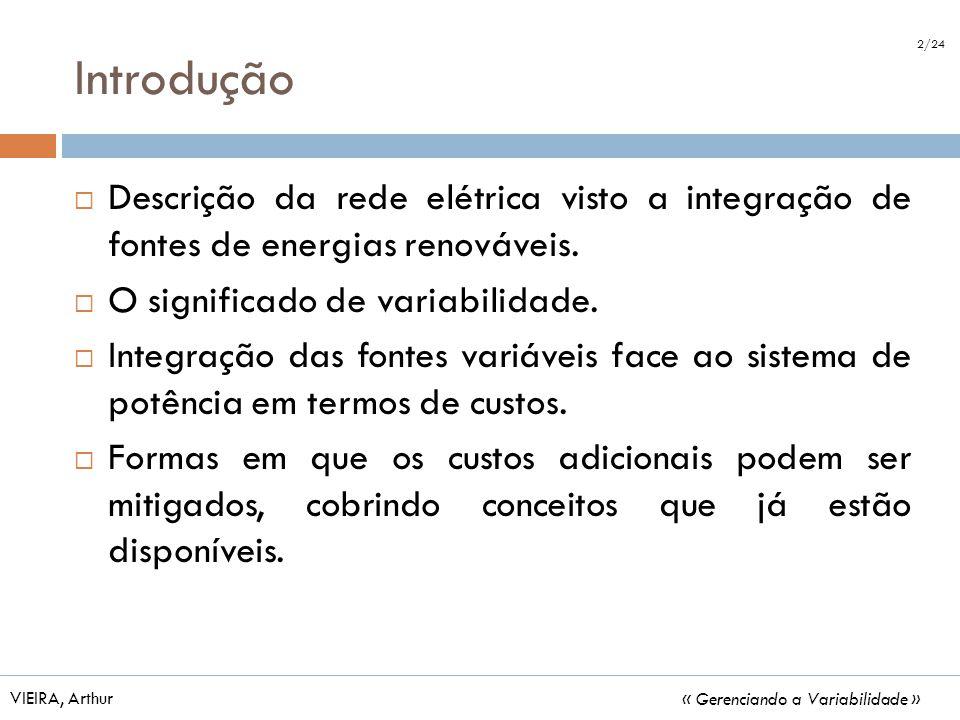 Introdução 2/24. Descrição da rede elétrica visto a integração de fontes de energias renováveis. O significado de variabilidade.