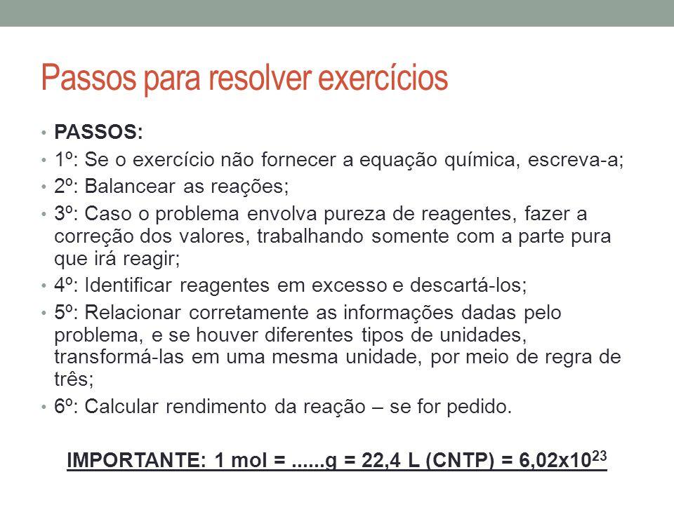 Passos para resolver exercícios