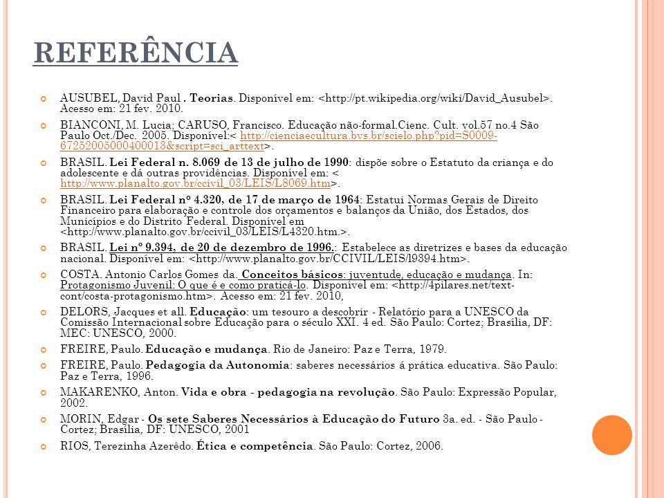 REFERÊNCIA AUSUBEL, David Paul . Teorias. Disponível em: <http://pt.wikipedia.org/wiki/David_Ausubel>. Acesso em: 21 fev. 2010.