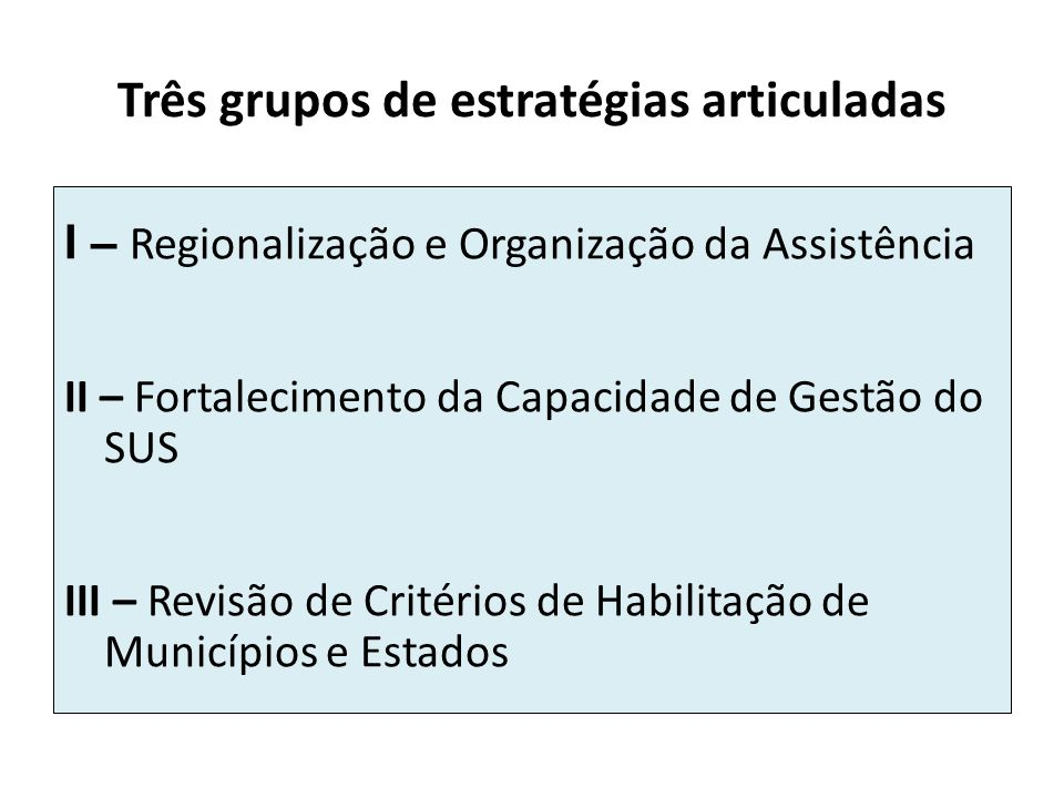 Três grupos de estratégias articuladas