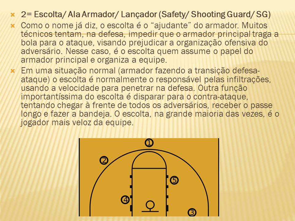 2= Escolta/ Ala Armador/ Lançador (Safety/ Shooting Guard/ SG)