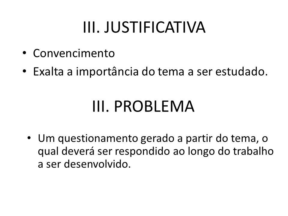 III. JUSTIFICATIVA III. PROBLEMA Convencimento