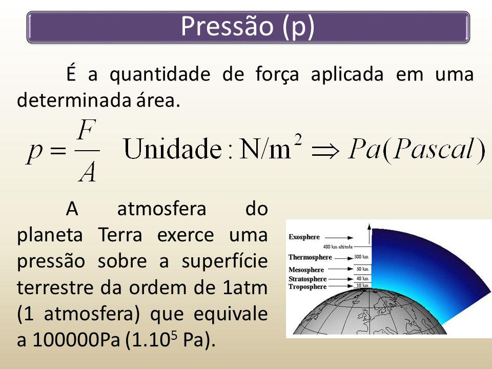 Pressão (p) É a quantidade de força aplicada em uma determinada área.