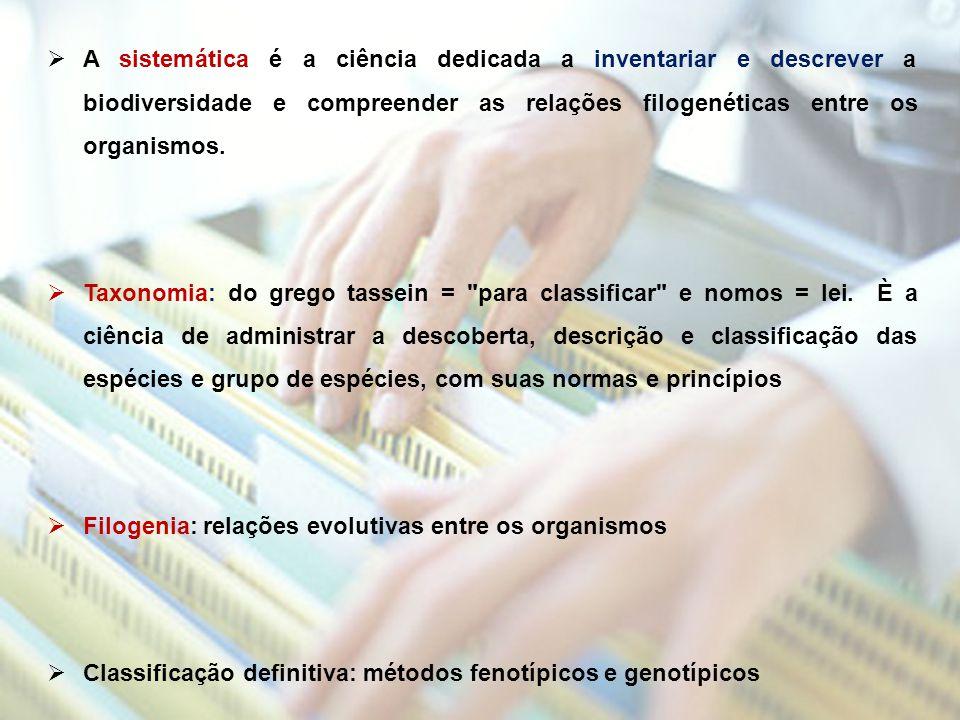 A sistemática é a ciência dedicada a inventariar e descrever a biodiversidade e compreender as relações filogenéticas entre os organismos.