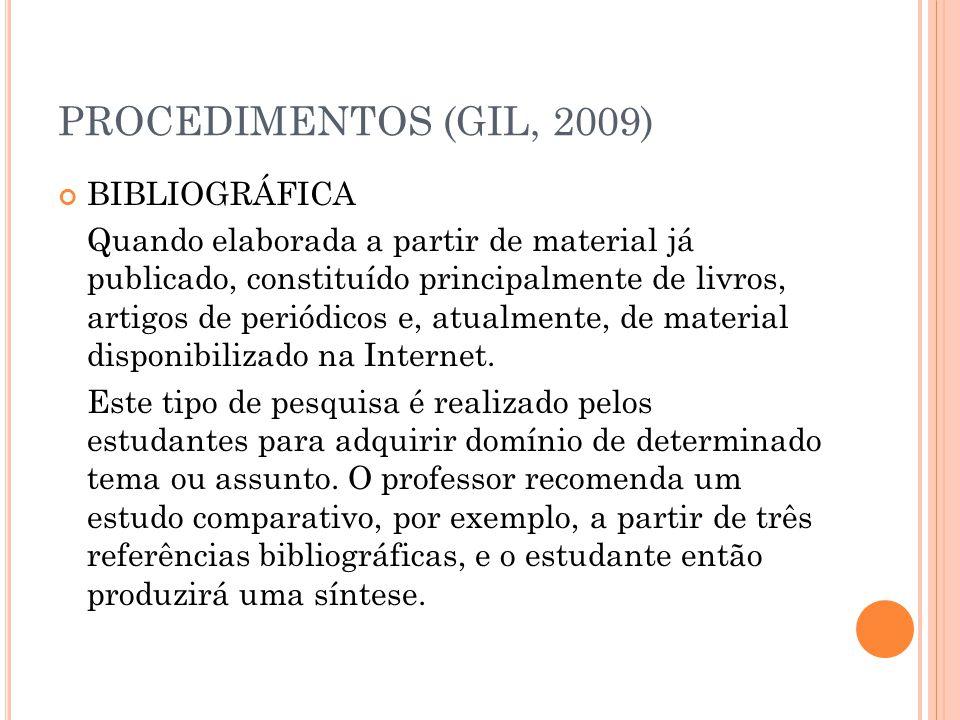 PROCEDIMENTOS (GIL, 2009) BIBLIOGRÁFICA