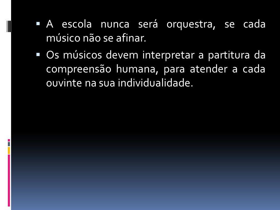 A escola nunca será orquestra, se cada músico não se afinar.