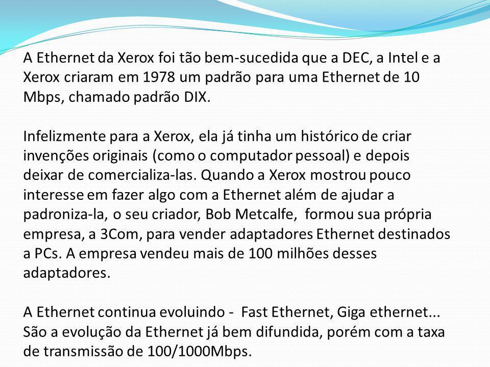 A Ethernet da Xerox foi tão bem-sucedida que a DEC, a Intel e a Xerox criaram em 1978 um padrão para uma Ethernet de 10 Mbps, chamado padrão DIX.