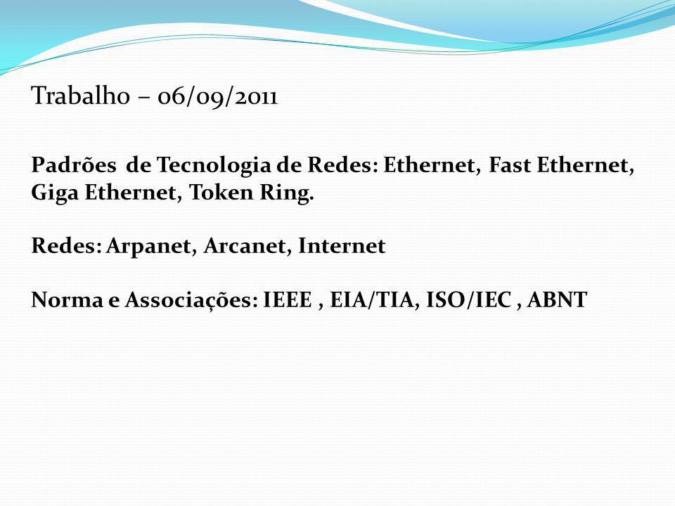 Trabalho – 06/09/2011 Padrões de Tecnologia de Redes: Ethernet, Fast Ethernet, Giga Ethernet, Token Ring.