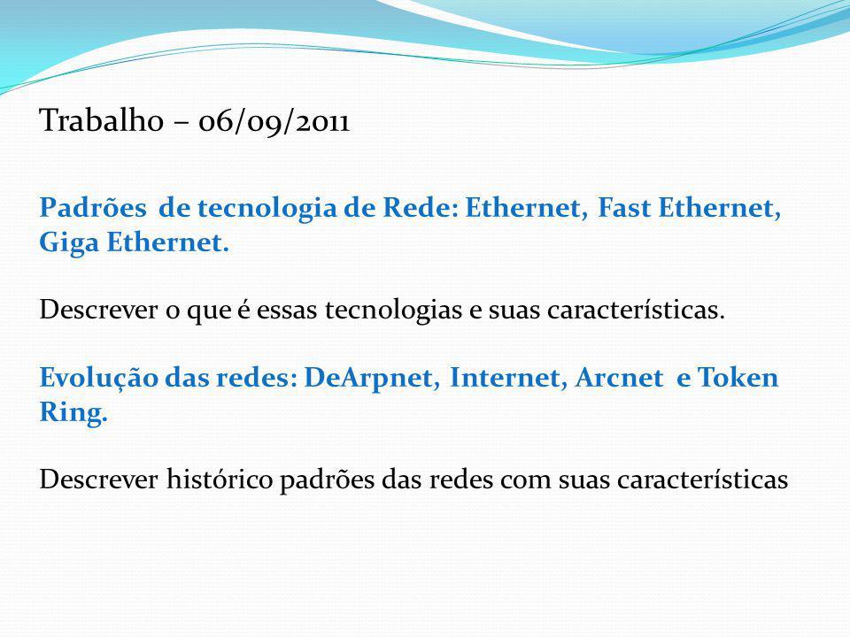 Trabalho – 06/09/2011 Padrões de tecnologia de Rede: Ethernet, Fast Ethernet, Giga Ethernet.