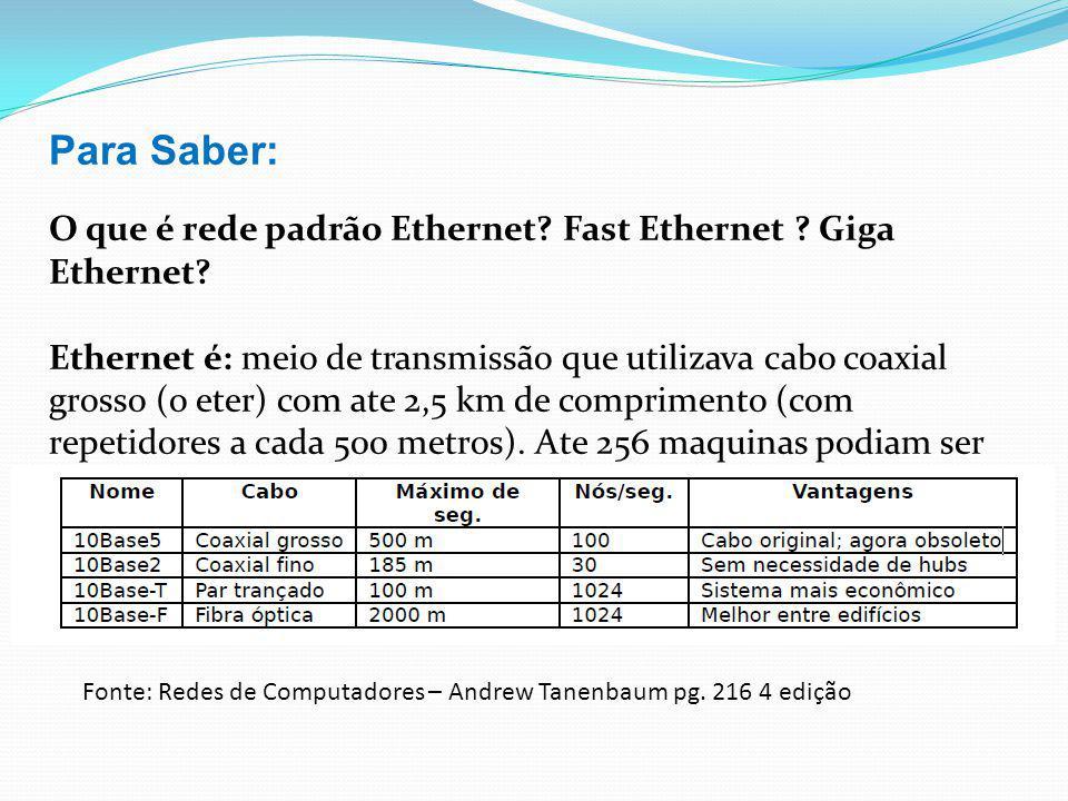 Para Saber: O que é rede padrão Ethernet Fast Ethernet Giga Ethernet