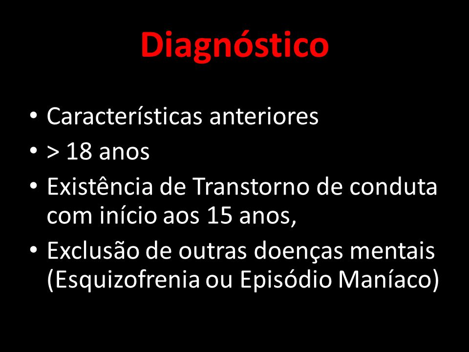 Diagnóstico Características anteriores > 18 anos
