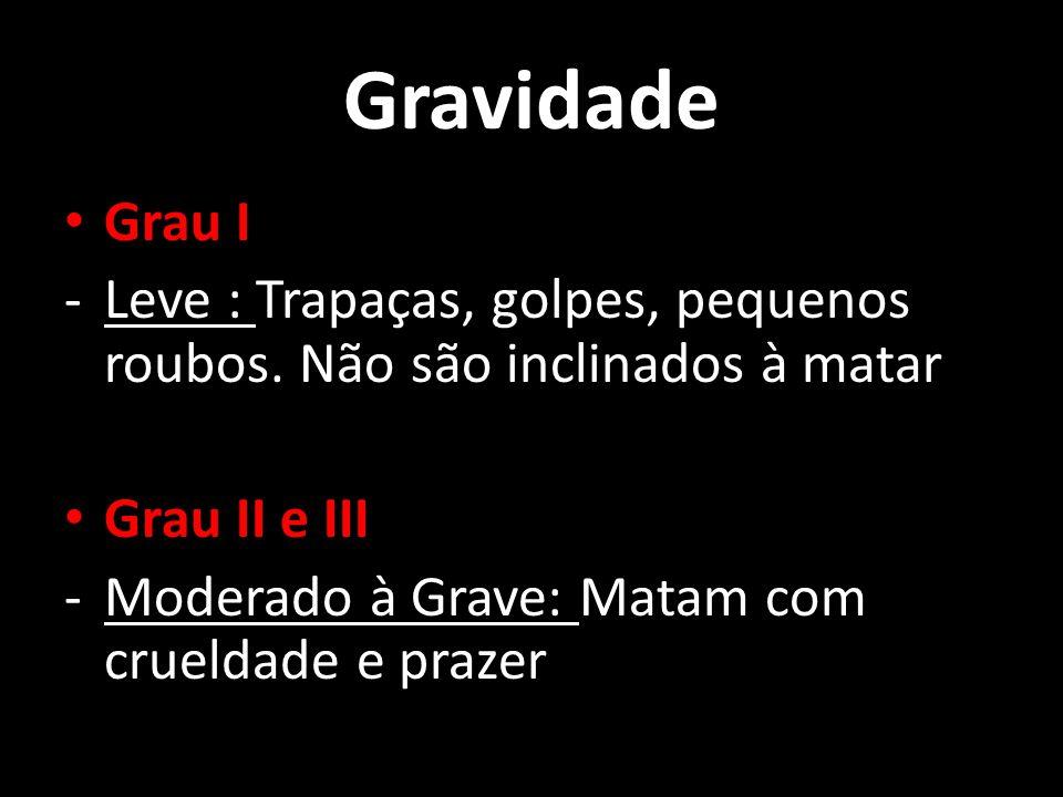 Gravidade Grau I. Leve : Trapaças, golpes, pequenos roubos. Não são inclinados à matar. Grau II e III.