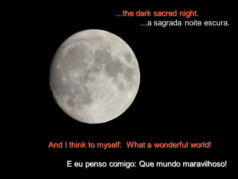 ...the dark sacred night. ...a sagrada noite escura. The bright blessed day... O brilho do dia abençoado...