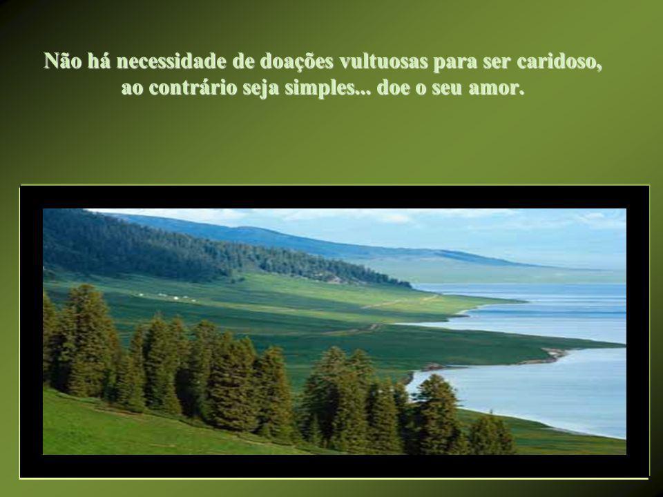 Não há necessidade de doações vultuosas para ser caridoso, ao contrário seja simples...