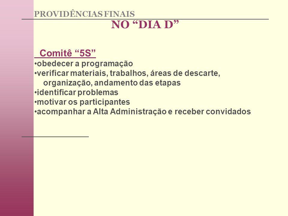 NO DIA D Comitê 5S PROVIDÊNCIAS FINAIS obedecer a programação