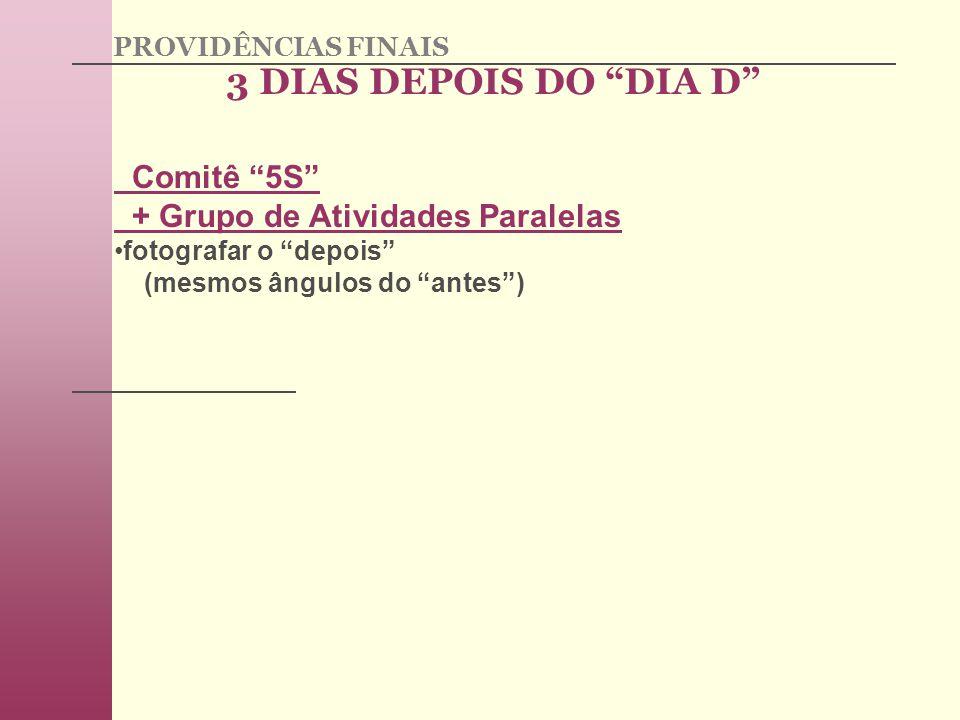3 DIAS DEPOIS DO DIA D Comitê 5S + Grupo de Atividades Paralelas
