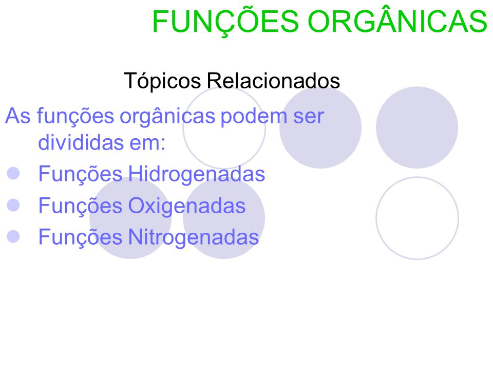 FUNÇÕES ORGÂNICAS Tópicos Relacionados