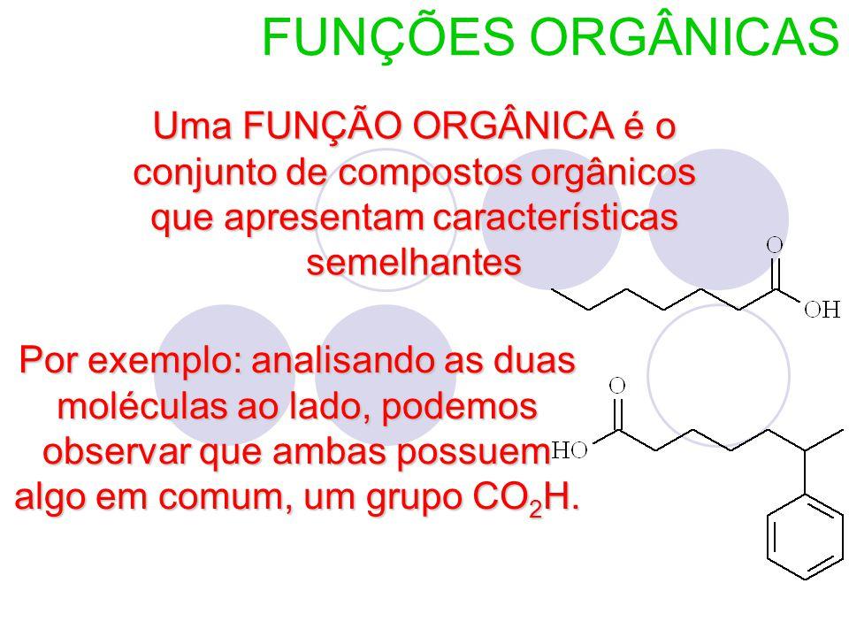 FUNÇÕES ORGÂNICAS Uma FUNÇÃO ORGÂNICA é o conjunto de compostos orgânicos que apresentam características semelhantes.
