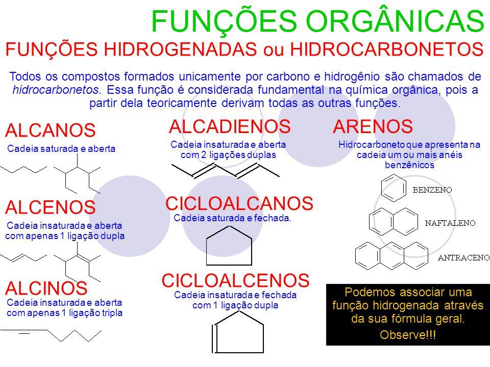 FUNÇÕES HIDROGENADAS ou HIDROCARBONETOS
