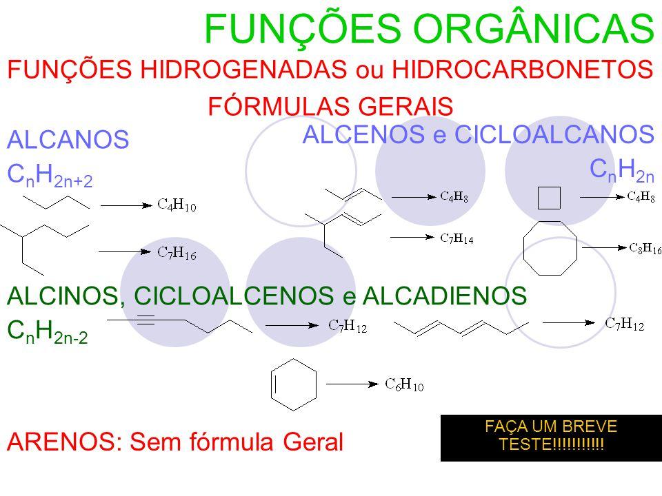 FUNÇÕES HIDROGENADAS ou HIDROCARBONETOS FÓRMULAS GERAIS