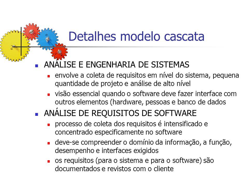 Detalhes modelo cascata