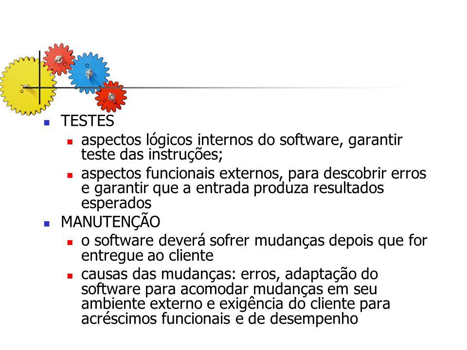 aspectos lógicos internos do software, garantir teste das instruções;
