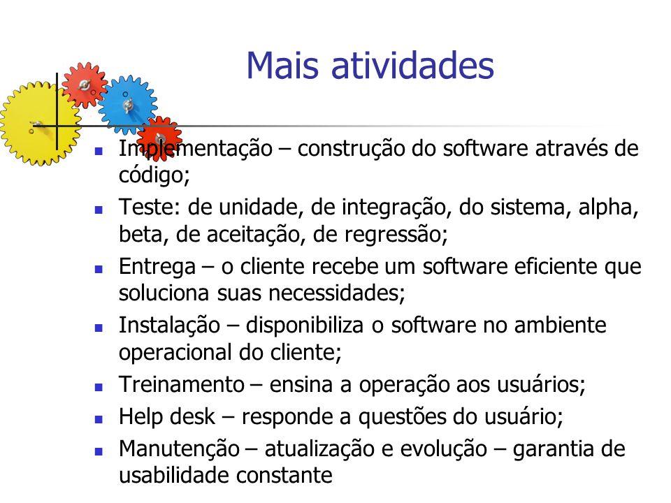 Mais atividades Implementação – construção do software através de código;