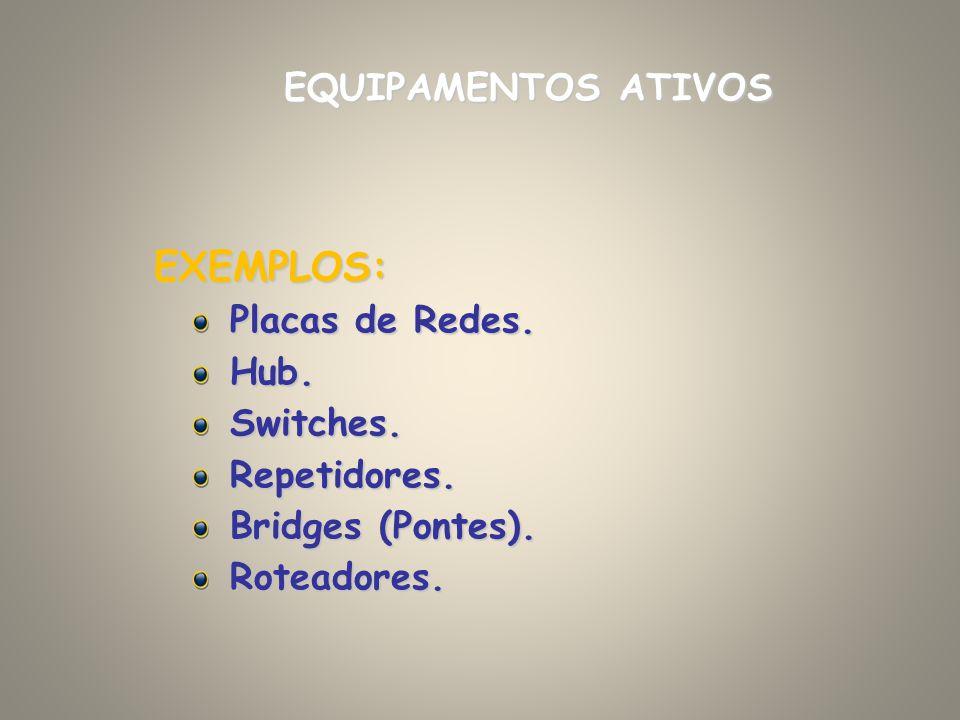 EXEMPLOS: EQUIPAMENTOS ATIVOS Placas de Redes. Hub. Switches.