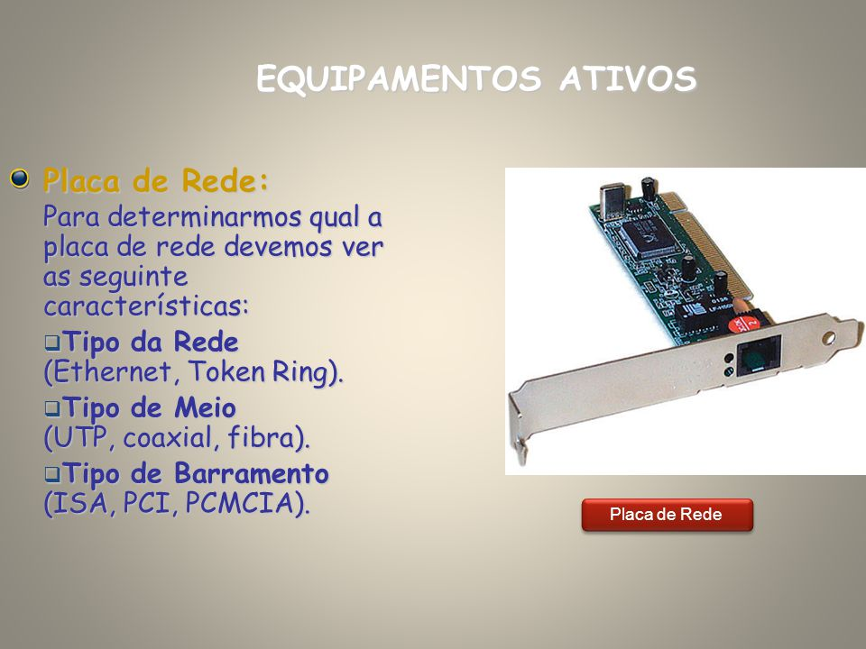EQUIPAMENTOS ATIVOS Placa de Rede: