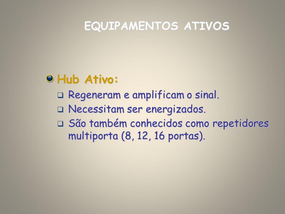 Hub Ativo: EQUIPAMENTOS ATIVOS Regeneram e amplificam o sinal.