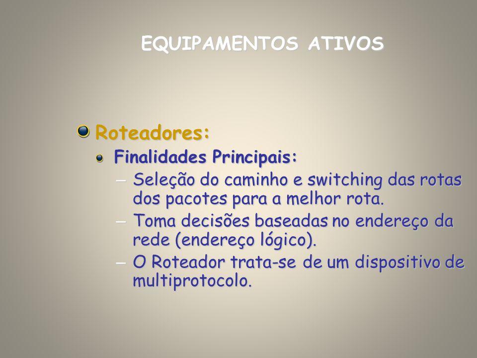 Roteadores: EQUIPAMENTOS ATIVOS Finalidades Principais: