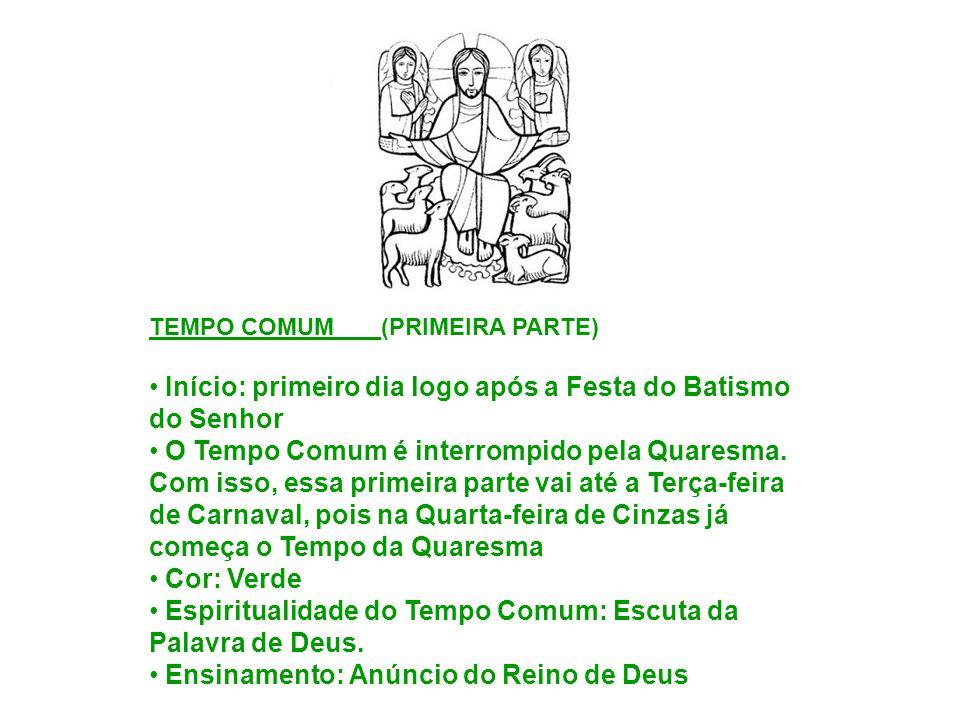 Início: primeiro dia logo após a Festa do Batismo do Senhor