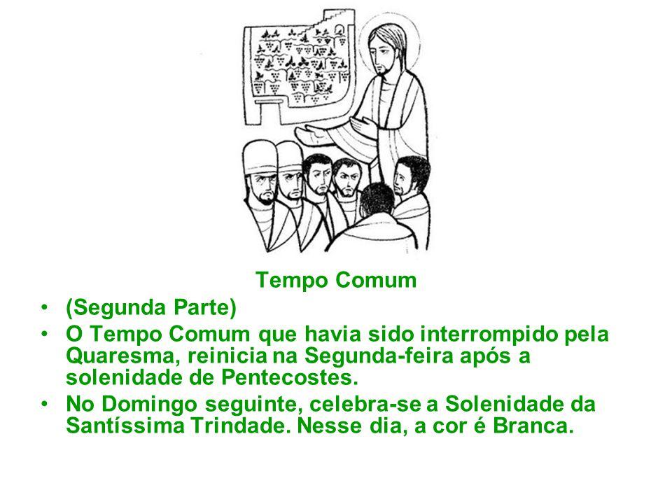 Tempo Comum (Segunda Parte) O Tempo Comum que havia sido interrompido pela Quaresma, reinicia na Segunda-feira após a solenidade de Pentecostes.