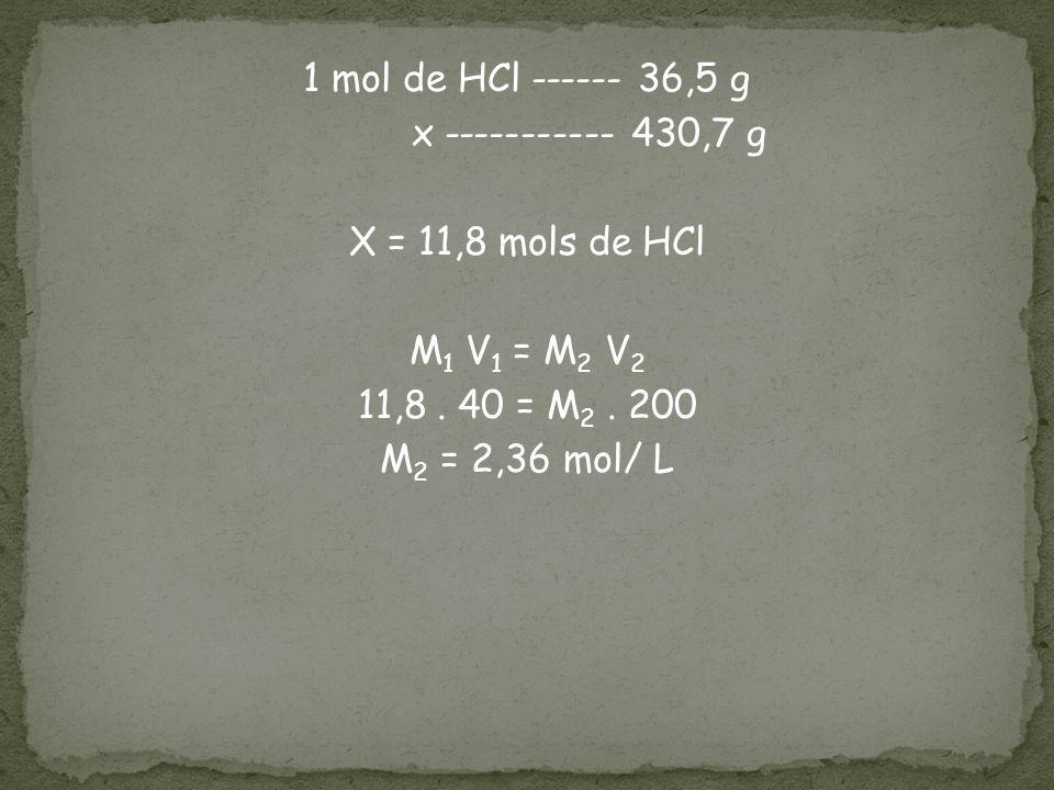 1 mol de HCl ------ 36,5 g x ----------- 430,7 g X = 11,8 mols de HCl M1 V1 = M2 V2 11,8 .