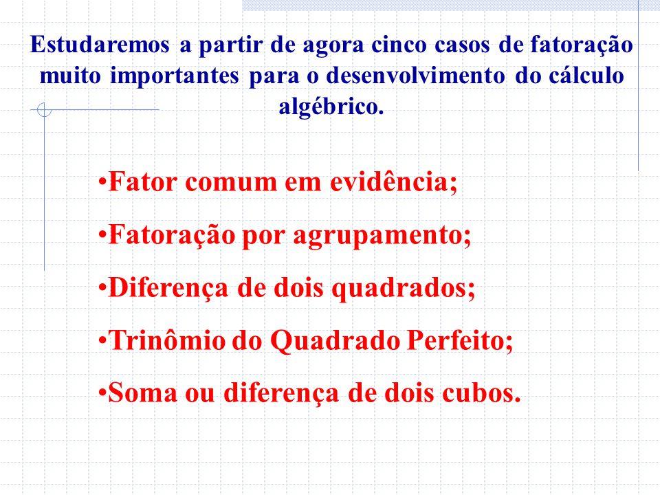 Fator comum em evidência; Fatoração por agrupamento;