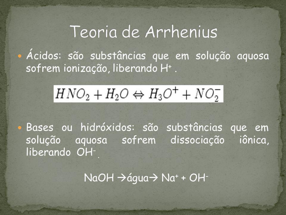 Teoria de Arrhenius Ácidos: são substâncias que em solução aquosa sofrem ionização, liberando H+ .