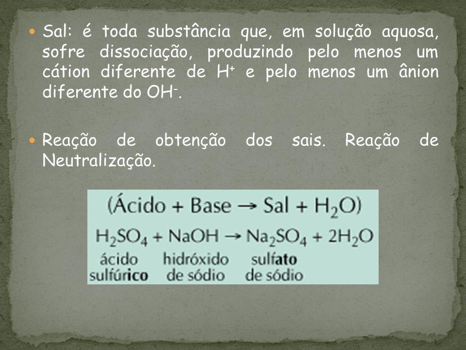 Sal: é toda substância que, em solução aquosa, sofre dissociação, produzindo pelo menos um cátion diferente de H+ e pelo menos um ânion diferente do OH-.