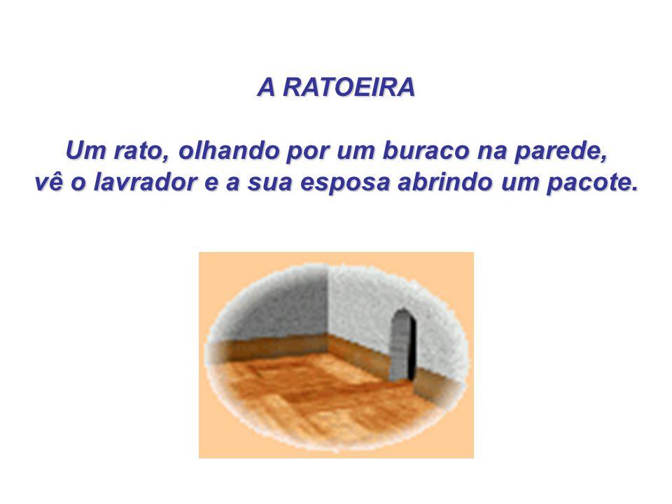 Um rato, olhando por um buraco na parede,